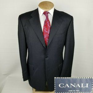 Canali Mens Sport Coat 42L Wool Navy Blue Stripe